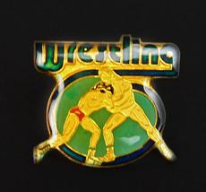 Vintage Wrestling Metal Enamel lapel Jacket Vest Pin Pinback - $10.84
