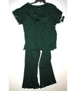 NWT New M Designer Natori Dark Green Pajamas PJ's Modal Soft Womens Pant... - $123.50