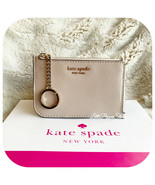 KATE SPADE CAMERON MEDIUM L-ZIP CARD HOLDER IN WARM BEIGE/BLACK - $39.48