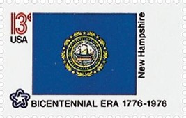 1976 13c New Hampshire State Flag, Bicentennial Era Scott 1641 Mint F/VF NH - $1.19