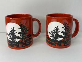 Pair Waechtersbach Red Mug with Black Tree Silhouettes & Moon West Germa... - $52.95