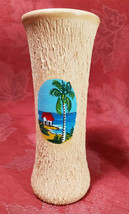 VINTAGE HAND PAINTED BEACH SCENE ON A HAND TURNED CLAY VASE JAMAICA 6""