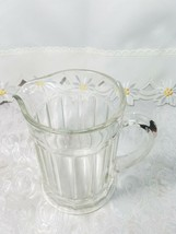"""Vintage Ribbed Glass Pitcher With Flat Bottom 6 1/3"""" x 7"""" x 4 3/4"""" image 2"""