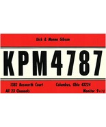 Vintage QSL Postcard  KPM 4787  Columbus, Ohio  Dick & Monna Gibson  -T- - $22.05