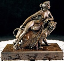 19th Century Bronze Metal Sculpture of Ariadne on a Panther Nude in repo... - $489.00