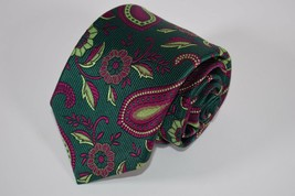 Robert Talbott Best of Class Tie in Green with Magenta and Neon Green Pa... - $43.20