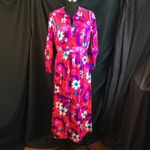 Flower Power Groovy Rayon Barkcloth Dress Long Sleeve Boho Hostess M Hom... - $39.11