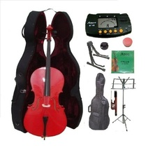 Merano 4/4 Size Red Cello,Hard Case with Bag,Bow+2 Stands+Tuner+Rosin+Mute - $399.99