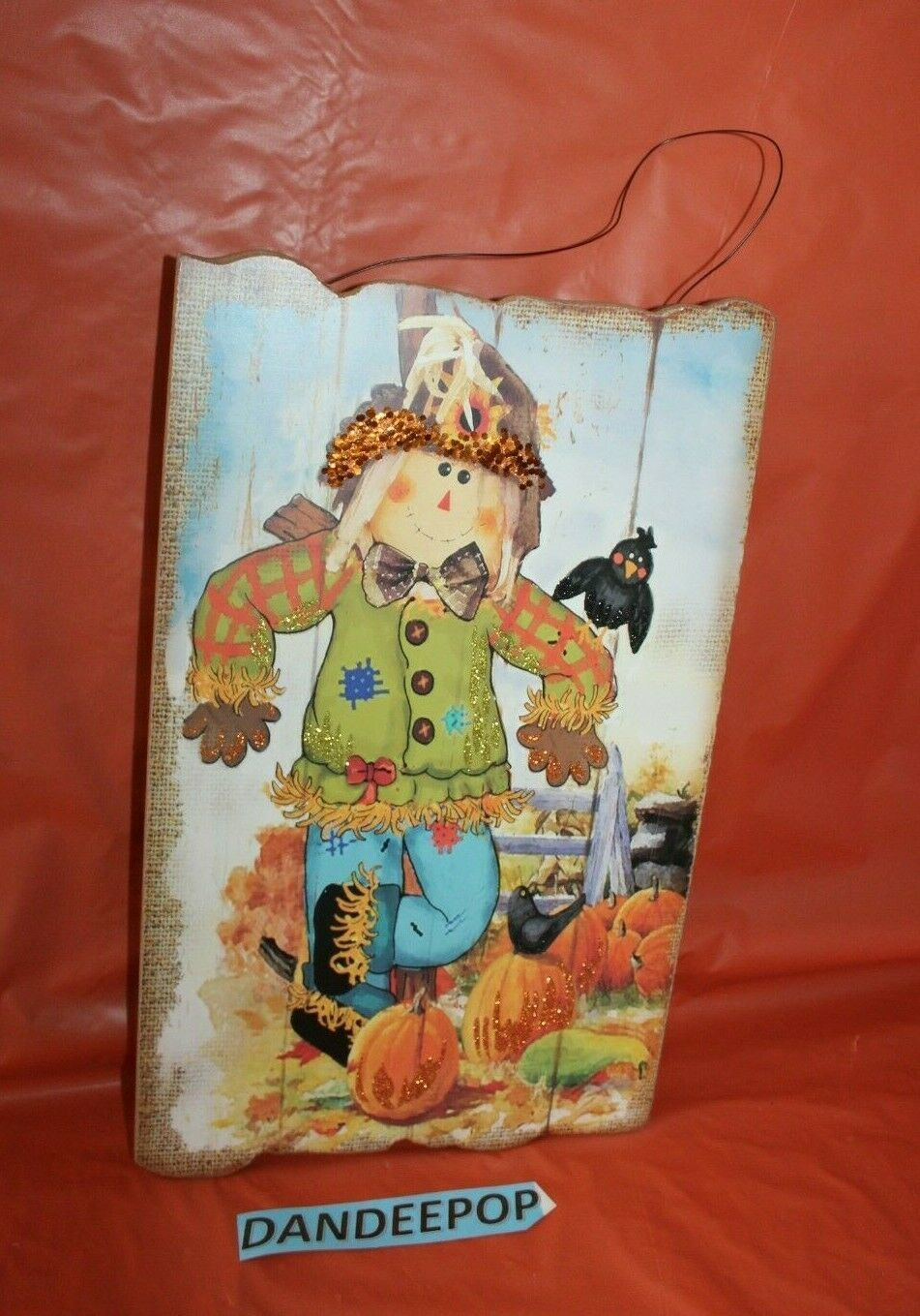 Primary image for Seasons By Nicole Harvest Wooden Sign Scarecrow Pumpkin Holiday Decor