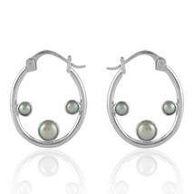 Fashion 925 Silver Women Pearl Big Circle Earrings Hoop Dangle Drop Ear ... - $27.99