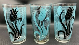 3 Vintage Blue Aqua and Black Tulip Stripe Glasses 20-2194 - $19.90