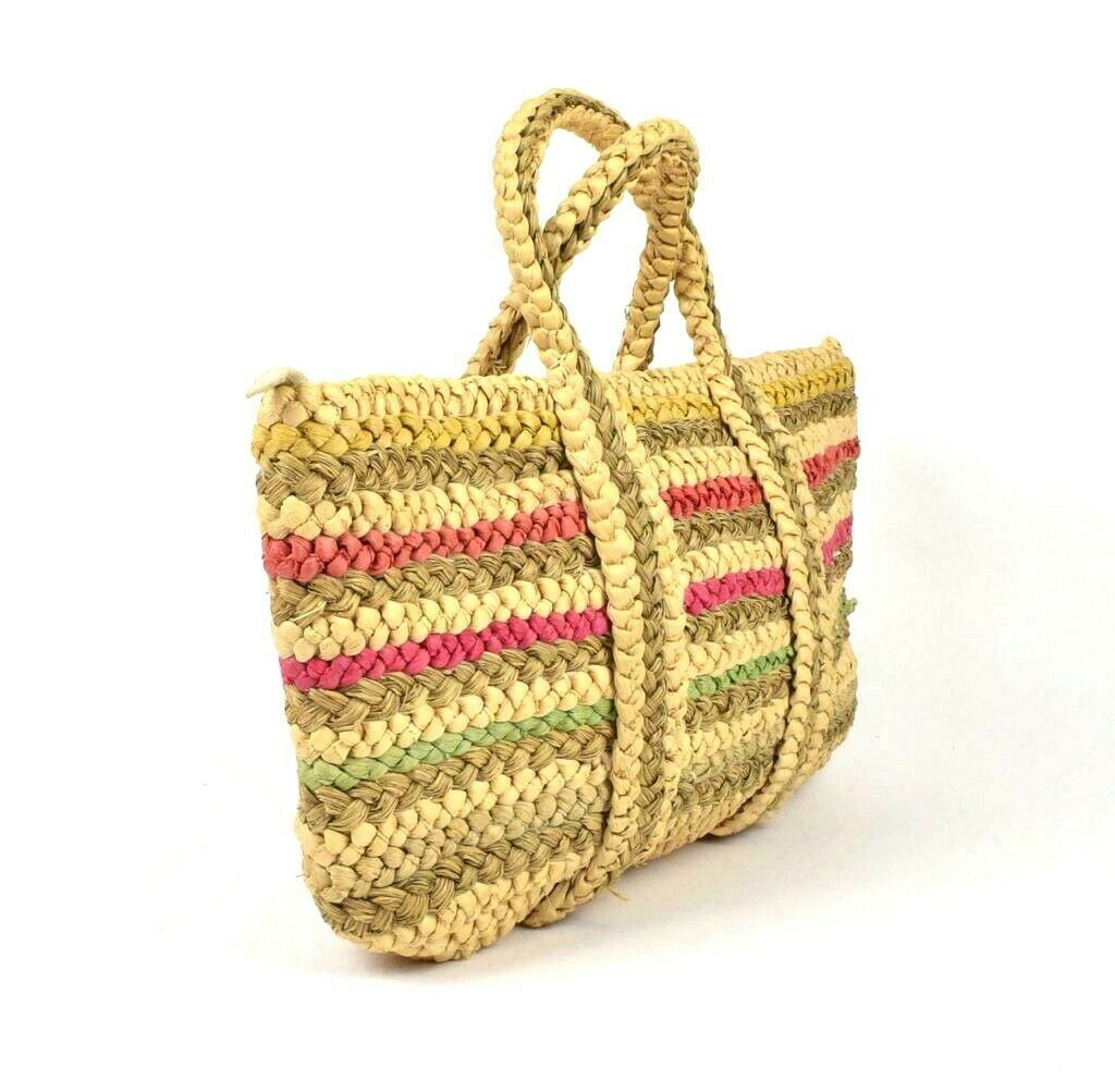 Primary image for Vintage 1990s Tan Striped Straw Tote Purse Beach Hand Bag Woven Braided Large