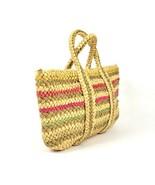 Vintage 1990s Tan Striped Straw Tote Purse Beach Hand Bag Woven Braided ... - $24.74