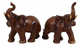 Ebros Faux Wood Feng Shui Elephant with Trunk Up Statue Set of 2 Thai Buddhism N - $15.98