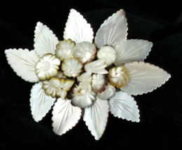 Antique Sterling Mother Of Pearl Carved Floating Leaves Victorian Brooch... - $179.99
