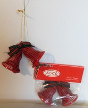 """Vintage 4 sets of 2 Red Bell Ornaments Coiled Wire NIP 3.5"""" x 2"""" - $18.00"""