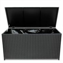 vidaXL Outdoor Storage Box Poly Rattan Black Entryway Chest Bench Organizer image 3