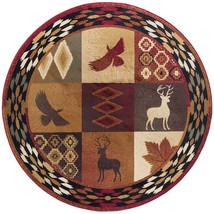 "5' Round (5'3"") Lodge Cabin Deer Buck Southwestern Eagle Red Area Rug - $104.00"