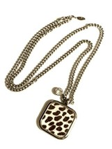 Ann Taylor Animal Print Fur Necklace Silver Tone Long Curb Chain - $48.51
