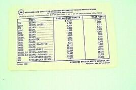 1970 mercedes 280sl 280sec owners price card sales brochure w113 w111 w109 w100 - $34.64