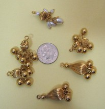 Lot 6 Vintage Gold Metal & Pearl Dangle Drops Chandlier Charm Beads FB-10 - $8.42