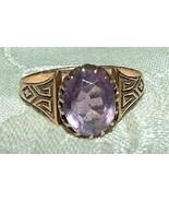 Antique Victorian 10 K Rose Gold Amethyst Ring 1880s Greek Key Size 7 - $375.00