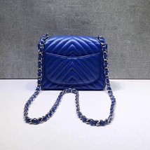 NEW AUTHENTIC CHANEL BLUE CHEVRON QUILTED CAVIAR SQUARE MINI CLASSIC FLAP BAG  image 6