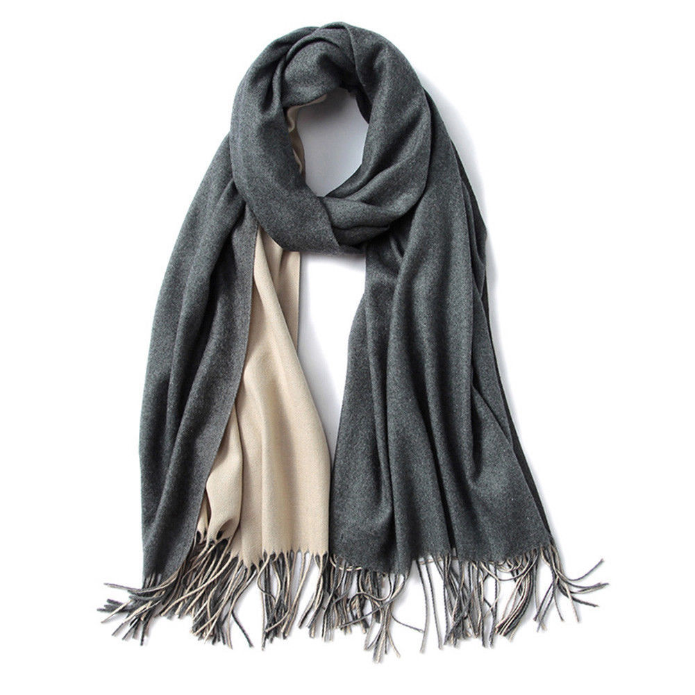 Women Girls Classic Double Side Solid Color Cashmere Shawl Long Warm Scarf for