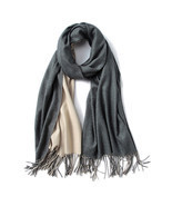 Women Girls Classic Double Side Solid Color Cashmere Shawl Long Warm Sca... - $47.80 CAD