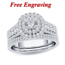 Women's Bridal Wedding Ring Set Round Cut Diamond White Gold Plated 925 Silver - $121.87