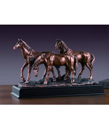 Three Horses Bronze Sculpture 3 Horses  Wild Horse Resin Statue Display ... - $129.00