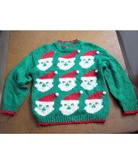 Vintage Womens Far & Near Ugly  Christmas Sweater Santa Green and Red - $20.00