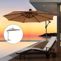 Patio Umbrella Solar LED Lights Offset Tilt Garden Backyard Deck 10' Lig... - $182.60