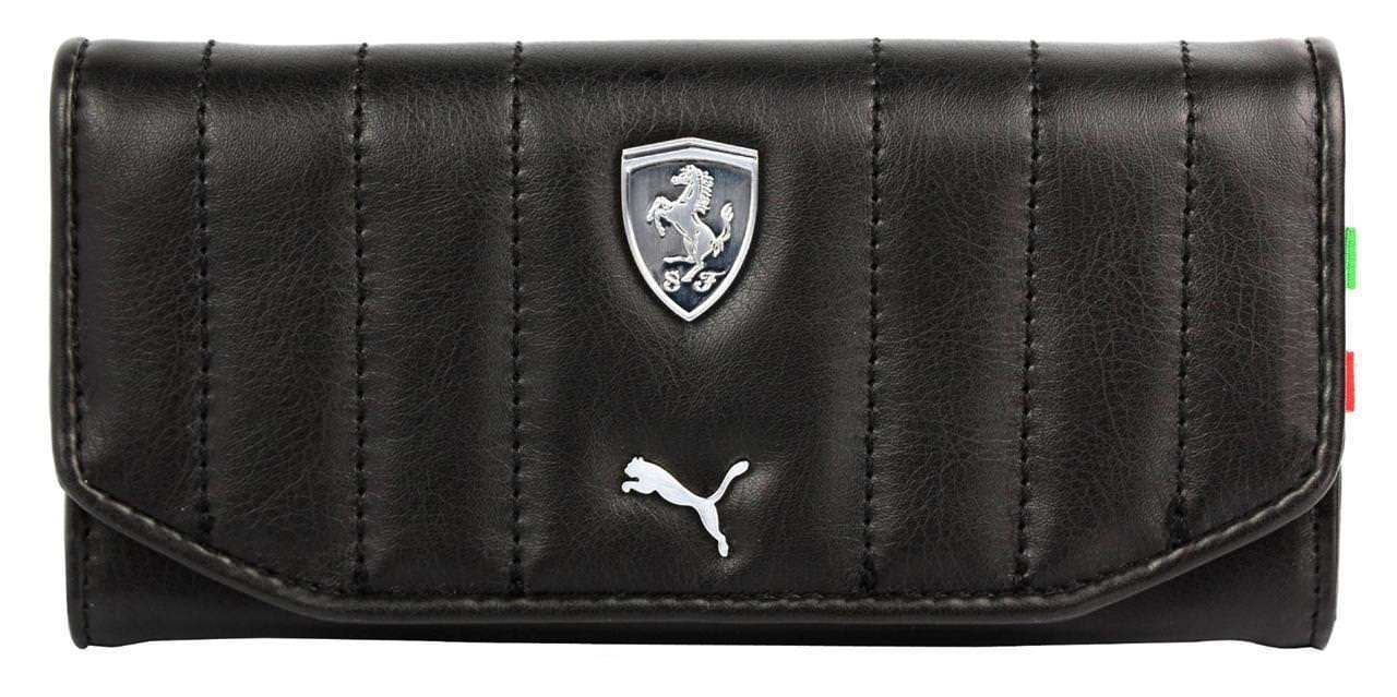 Puma Ferrari Zip Around Checkbook Id Leather Wallet Black PMMO3029