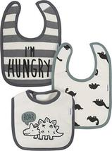 Baby Boy's Organic Cotton Dribbler Bibs 3Pk (Roar Dinosaur - Grey/White/Black, B - $15.76