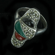 Vintage Deco Design 3 Stone Marcasite Sterling Silver Ring - Onyx/Green ... - $97.19