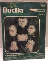 Bucilla Candlewicking Ornaments Christmas Shapes Faces #82097 Makes 6 - $8.59