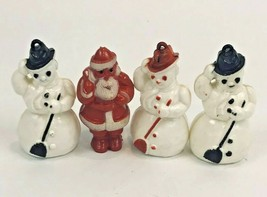 "Vintage Hard Plastic Ornament Lot Snowman Santa Lot 4 1940's Antique 3""  - $39.59"