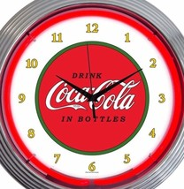 Coca Cola Neon Wall Clock Coke Office Game Room Garage 15 Inch Red White... - $58.40