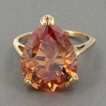 Uncas Gold Clad Sterling HUGE Pear Cognac CZ Solitaire Cocktail Ring Sz ... - $14.95