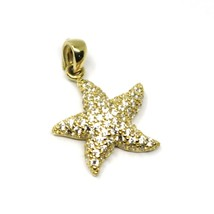 SOLID 18K YELLOW GOLD PENDANT STARFISH STAR WITH CUBIC ZIRCONIA 16mm 0.63 inches image 2