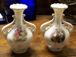 Vintage lustreware pair of handled bud vases with victorian couple scene - $24.02