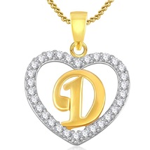 """Initial Letter """"D"""" Pendant With Chain 14k Yellow Gold FN 925 Silver Round Cut CZ - $43.11"""