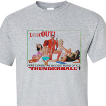 James Bond T-shirt 007 THUNDERBALL pin up girls retro vintage movie 70's Connery image 1
