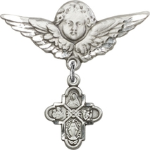 4-Way Medal - Baby Badge and Angel with Wings Pin - Sterling Silver - $65.99