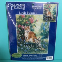 Candamar Designs Linda Picken Hobbs & Topper Cats Picture Cross Stitch K... - $9.95