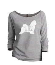 Thread Tank Maltese Dog Silhouette Women's Slouchy 3/4 Sleeves Raglan Sweatshirt - $24.99+