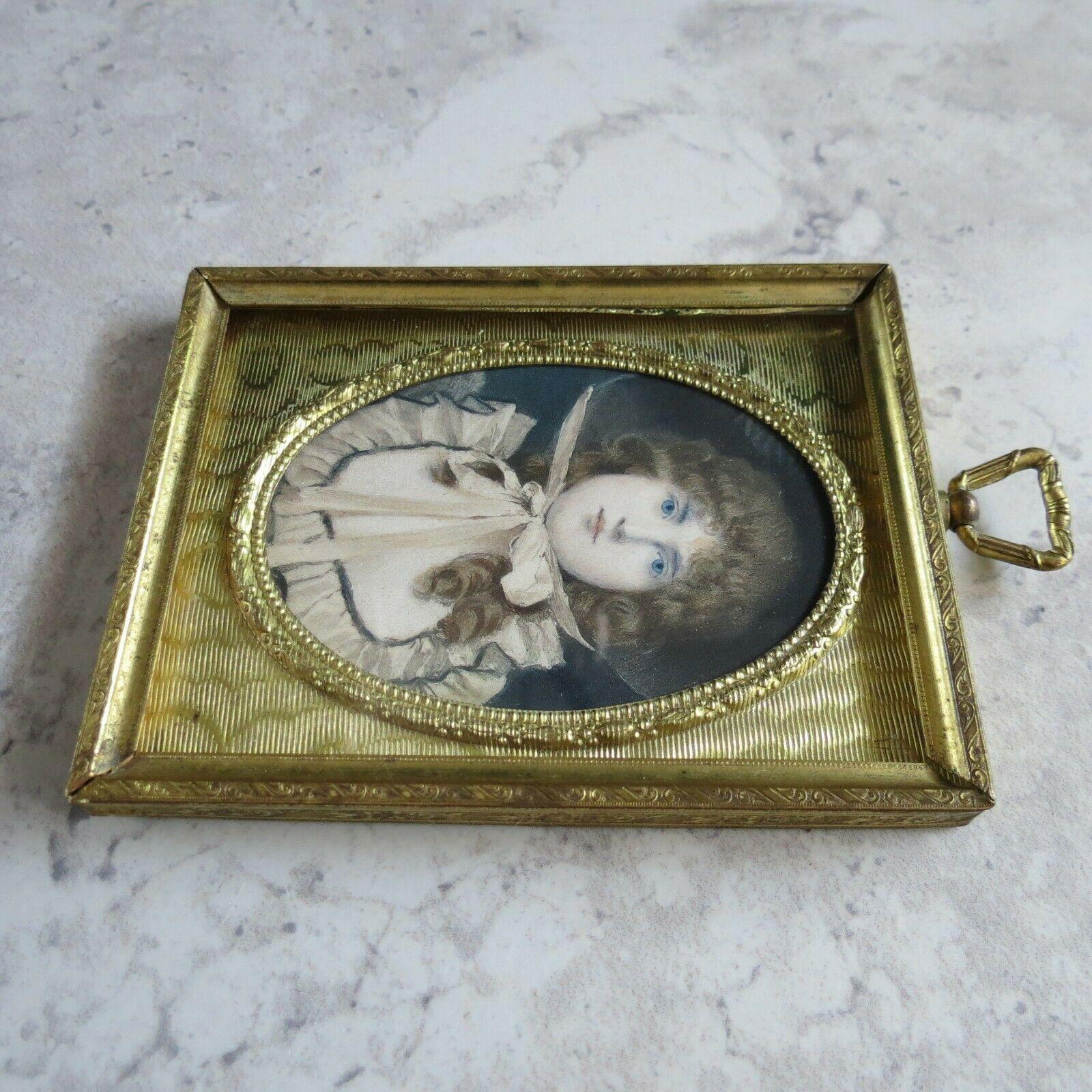 Antique Gold metal Frame Celluloid Miniature Portrait lithograph hand colored
