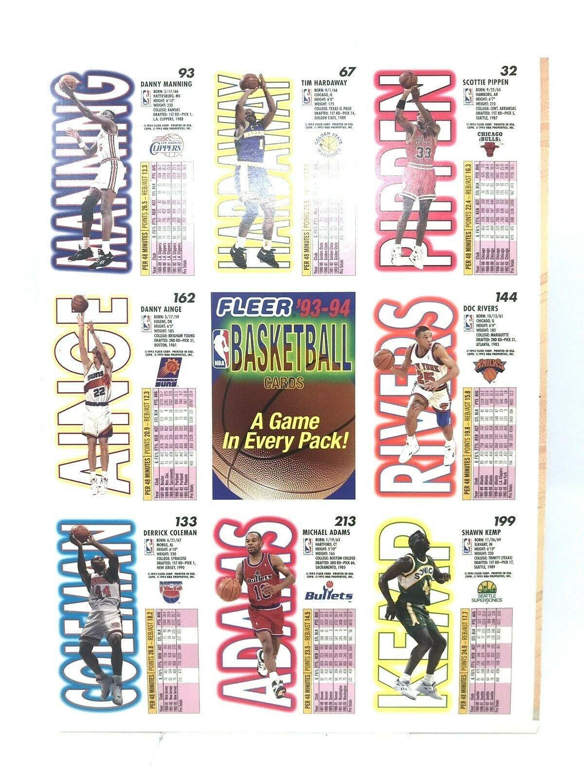 1993-94 Fleer Baskeball Cards Uncut Sheet Pippen Rivers Kemp Hardaway Coleman