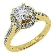 1.83 CARAT WOMENS DIAMOND ENGAGEMENT HALO WEDDING RING ROUND CUT 14K YEL... - £4,446.07 GBP